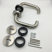 Plastic Base Internal Door 304 Stainless Steel Tube Lever Type Door Handles
